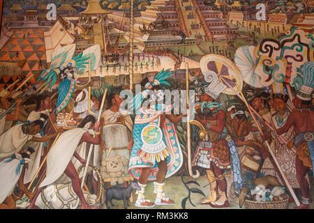 Corridor Mural, ''Festivals and Ceremonies'', Painted by Diego Rivera, 1950, Palacio Nacional de Mexico, Mexico City, Mexico - Stock Photo