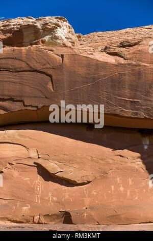 Ancestral Puebloan Petroglyphs, Upper Sand Island, Bears Ears National Monument, Utah, USA - Stock Photo
