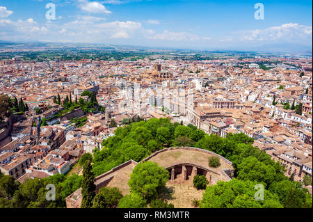 A view over Granada from the original citadel, known as Alcazaba, at the Alhambra, a 13th century Moorish palace complex in Granada, Spain. Built on R - Stock Photo