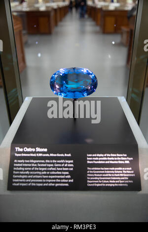 The Ostro Stone, on display in The Natural History Museum, London, Uk - Stock Photo