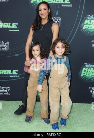 Los Angeles, North Hollywood, United States. 12th Feb, 2019. Los Angeles, NORTH HOLLYWOOD, LOS ANGELES, CA, USA - FEBRUARY 12: Actress Dania Ramirez and children Gaia Jissel Ramirez Land and John Aether Ramirez Land arrive at the Los Angeles Premiere Of Disney Channel's 'Kim Possible' held at the Saban Media Center at the Television Academy on February 12, 2019 in North Hollywood, Los Angeles, California, United States. (Photo by Xavier Collin/Image Press Agency) - Stock Photo