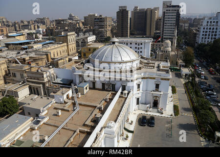 Cairo, Egypt. 13th Feb, 2019. A view of the building of the Egyptian Parliament. The parliament held a plenary session today to deliberate the proposed constitutional amendments that will increase the country's President term in office from four to six years. The Parliament members will vote later on the amendments before referring it to the Legislative and Constitutional Affairs Committee to be discussed in detail and to be finalized before being referred to the president to be put up for a public vote in a national referendum. Credit: Lobna Tarek/dpa/Alamy Live News - Stock Photo