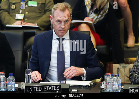 Brussels, Belgium. 13th Feb, 2019. Acting U.S. Secretary of Defense Patrick Shanahan attends the NATO defence ministers meeting at the NATO headquarters in Brussels, Belgium, Feb. 13, 2019. Credit: Zheng Huansong/Xinhua/Alamy Live News - Stock Photo