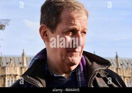 Westminster, London, UK. 13th Feb, 2019. Alastair Campbell met Pro EU Protesters, Houses of Parliament, Westminster, London.UK Credit: michael melia/Alamy Live News - Stock Photo