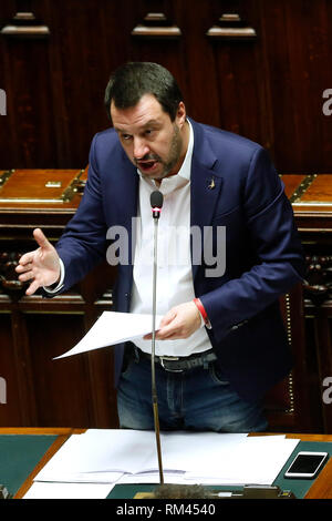 Rome, Italy. 13th Feb, 2019. Matteo Salvini Rome February 13th 2019. Lower Chamber. Ministers of Internal Affairs, of Labour and of Health at the Question Time at the Chamber of Deputies. Foto Samantha Zucchi Insidefoto Credit: insidefoto srl/Alamy Live News - Stock Photo