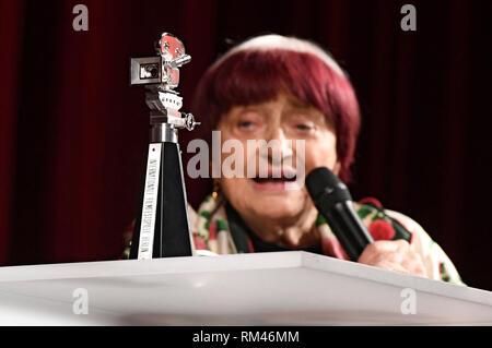 Berlin, Germany. 13th Feb, 2019. Agnes Varda receives the Berlinale Kamera Award at the 69th Berlin International Film Festival/Berlinale 2019 at Berlinale Palast on February 13, 2019 in Berlin, Germany. Credit: Geisler-Fotopress GmbH/Alamy Live News - Stock Photo