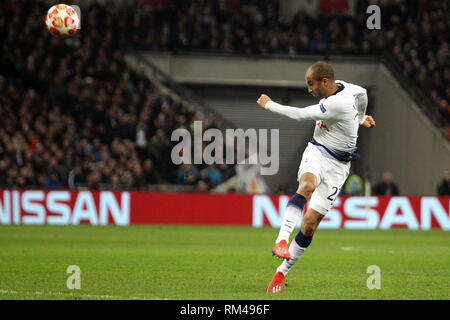 London, UK. 13th Feb, 2019. Lucas Moura of Tottenham Hotspur takes a shot at goal. UEFA Champions league match, round of 16, 1st leg match, Tottenham Hotspur v Borussia Dortmund at Wembley Stadium in London on Wednesday 13th February 2019. this image may only be used for Editorial purposes. Editorial use only, license required for commercial use. No use in betting, games or a single club/league/player publications . pic by Steffan Bowen/Andrew Orchard sports photography/Alamy Live news Credit: Andrew Orchard sports photography/Alamy Live News - Stock Photo