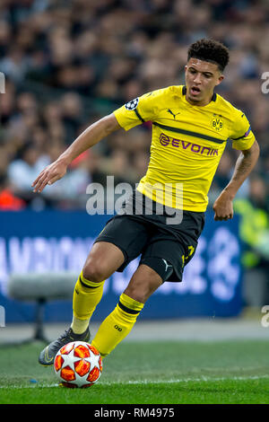 London, UK. 13th Feb, 2019. Jadon Sancho of Borussia Dortmund during the UEFA Champions League round of 16 match between Tottenham Hotspur and Borussia Dortmund at Wembley Stadium, London, England on 13 February 2019. Photo by Salvio Calabrese. Editorial use only, license required for commercial use. No use in betting, games or a single club/league/player publications. Credit: UK Sports Pics Ltd/Alamy Live News - Stock Photo