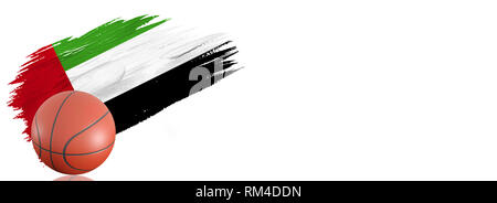 Painted brush stroke in the flag of United Arab Emirates. Basketball banner with classic design isolated on white background with place for your text. - Stock Photo