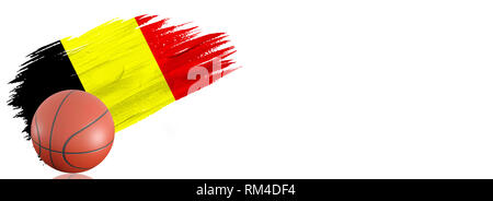 Painted brush stroke in the flag of Belgium. Basketball banner with classic design isolated on white background with place for your text. - Stock Photo