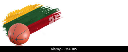 Painted brush stroke in the flag of Lithuania. Basketball banner with classic design isolated on white background with place for your text. - Stock Photo