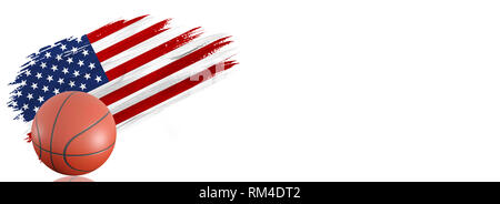 Painted brush stroke in the flag of USA. Basketball banner with classic design isolated on white background with place for your text. - Stock Photo