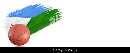 Painted brush stroke in the flag of Djibouti. Basketball banner with classic design isolated on white background with place for your text. - Stock Photo