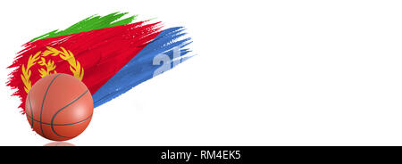 Painted brush stroke in the flag of Eritrea. Basketball banner with classic design isolated on white background with place for your text. - Stock Photo
