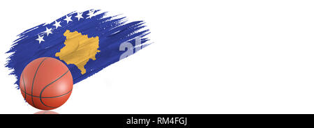 Painted brush stroke in the flag of Kosovo. Basketball banner with classic design isolated on white background with place for your text. - Stock Photo