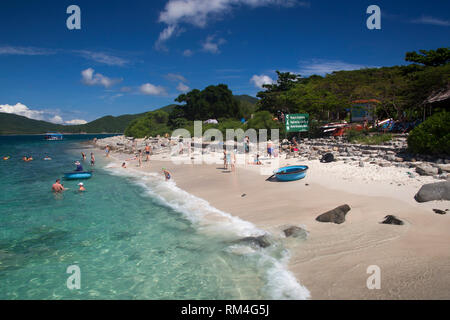 Beach of Hon Mun Island, Bay of Nha Trang, South China Sea, Nha Trang, Vietnam - Stock Photo