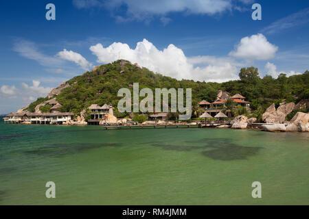 Small bungalow resort Ngoc Suong, in Cam Ranh Bay, Nha Trang, Vietnam, Asia - Stock Photo