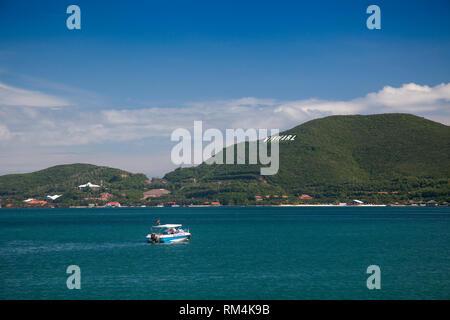 Bay of Nha Trang, Vinpearl island at the back, South China Sea, Nha Trang, Vietnam, Asia - Stock Photo