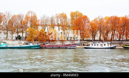 Paris (France) - Fall colors in a rainy day along the Seine - Stock Photo