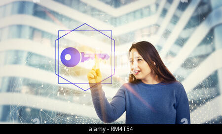 Woman touch a digital screen interface selecting a private key. Fingerprint scanning, future security password cyber attack information protection. Bu - Stock Photo