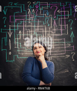 Puzzled young woman in front of blackboard with different colorful arrows try to solve a question maze and find the answer. Problem analysis solution  - Stock Photo