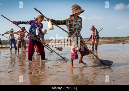 Cambodia, Kampot Province, Kampot, Tuek Chhou, Salt Fields, women preparing field for flooding with seawater - Stock Photo