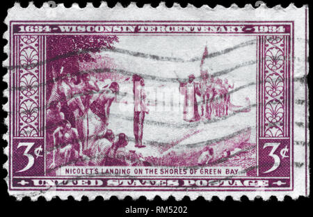 USA - CIRCA 1934: A Stamp printed in USA devoted to Tercentenary of the arrival of French explorer Jean Nicolet at Green Bay, Wisconsin, circa 1934 - Stock Photo