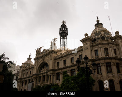 view on post office building in Valencia, Spain - Stock Photo