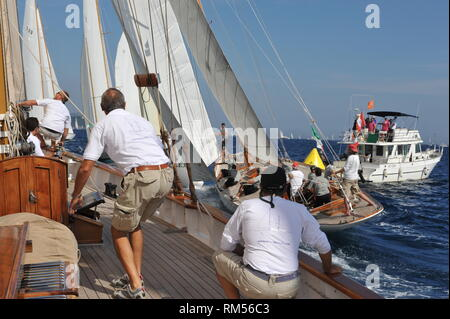 An exciting start to the race from on board classic schooner Orianda - Stock Photo