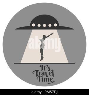 UFO abducting man - Stock Photo