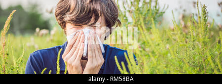 Young man sneezes because of an allergy to ragweed BANNER, long format - Stock Photo