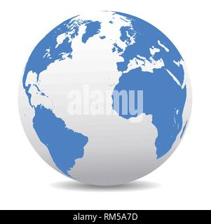 Europe, North and South America, Africa Global World, Vector Map Icon of the world in Globe - Stock Photo