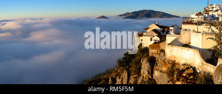 Above the clouds. Comares, Axarquia, Malaga, Andalucia, Spain - Stock Photo