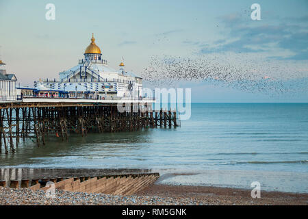 Evening at Eastbourne Pier in East Sussex, England. - Stock Photo