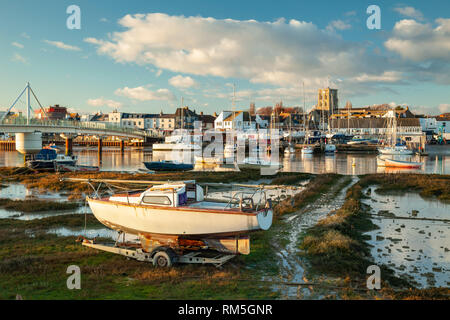 Winter afternoon on river Adur in Shoreham-by-Sea, West Sussex. - Stock Photo