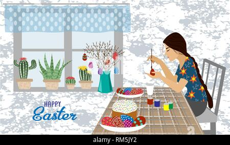 The girl at the table paints Easter eggs. Vector illustration isolated on a white background with text - Stock Photo