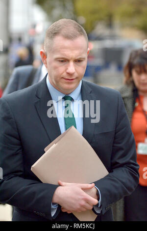 Chris Hazzard MP (Sinn Féin: South Down) after being interviewed on College Green, Westminster, Feb 2019 - Stock Photo