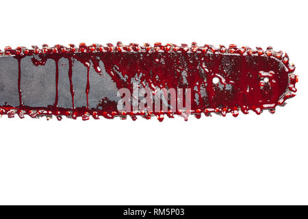 bloody chainsaw isolated on white - Stock Photo