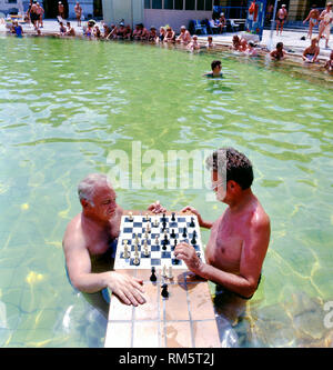 Budapest,Hungary-July 07,2010: Men playing chess in the Szechenyi thermal baths, spa and swimming pool in Budapest Hungary - Stock Photo