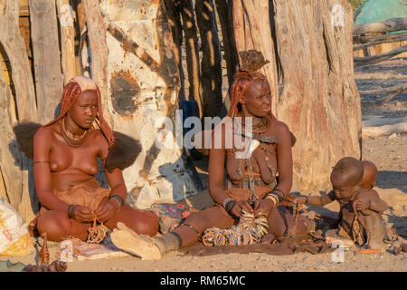 Himba village, Kaokoveld, Namibia, Africa - Stock Photo