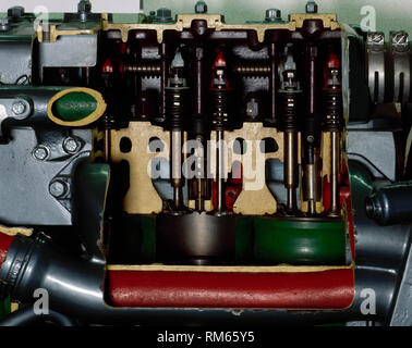 Diesel engine by the Spanish manufacturer 'Pegaso', belonging to a railbus. During the decade of 1960 they were introduced in Spain with the purpose of improve the regional services of Renfe. Detail of the pistons. Madrid Railway Museum, Spain. - Stock Photo