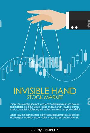 Hand is controlling stock candle stick graph infographic. Invisible hand metaphor concept - Stock Photo