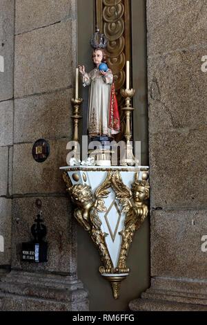Infant Jesus of Prague. Image from baroque XVIII century Congregados church, Porto, Portugal. - Stock Photo