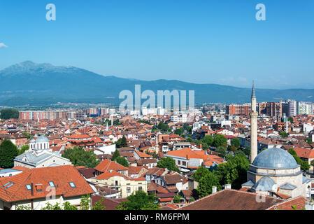 Historic city center of Prizren, Kosovo with a church and a mosque - Stock Photo