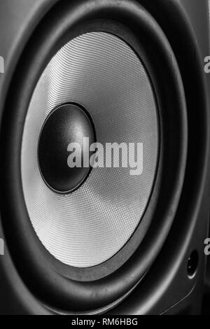 Close up of side speaker cone in blsck and white - Stock Photo