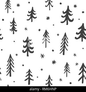Seamless stylish pattern with cute hand drawn pine trees. Vector Outline illustration, Grey and White. - Stock Photo