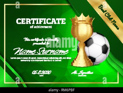 Soccer Certificate Diploma With Golden Cup Vector