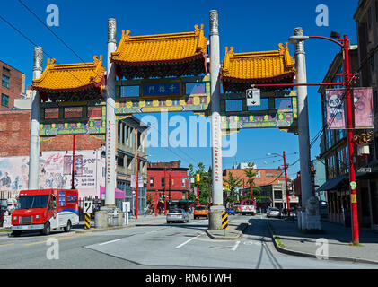 Vancouver, B.C., Canada - July 6, 2012: Millennium Gate on Pender Street in Chinatown, Vancouver, Canada - Stock Photo