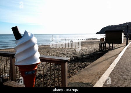 A large plastic advertising ice cream cone along Shanklin Beach, Shanklin, Isle of Wight, England, UK. - Stock Photo
