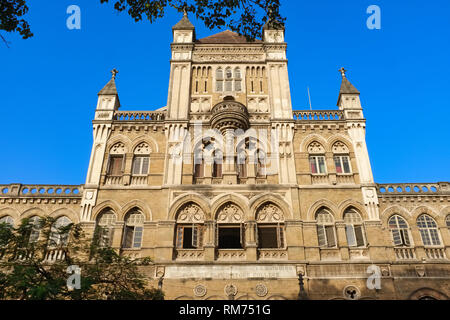 A partial view of colonial-era Elphinstone College, Kala Ghoda, Fort, Mumbai, India - Stock Photo
